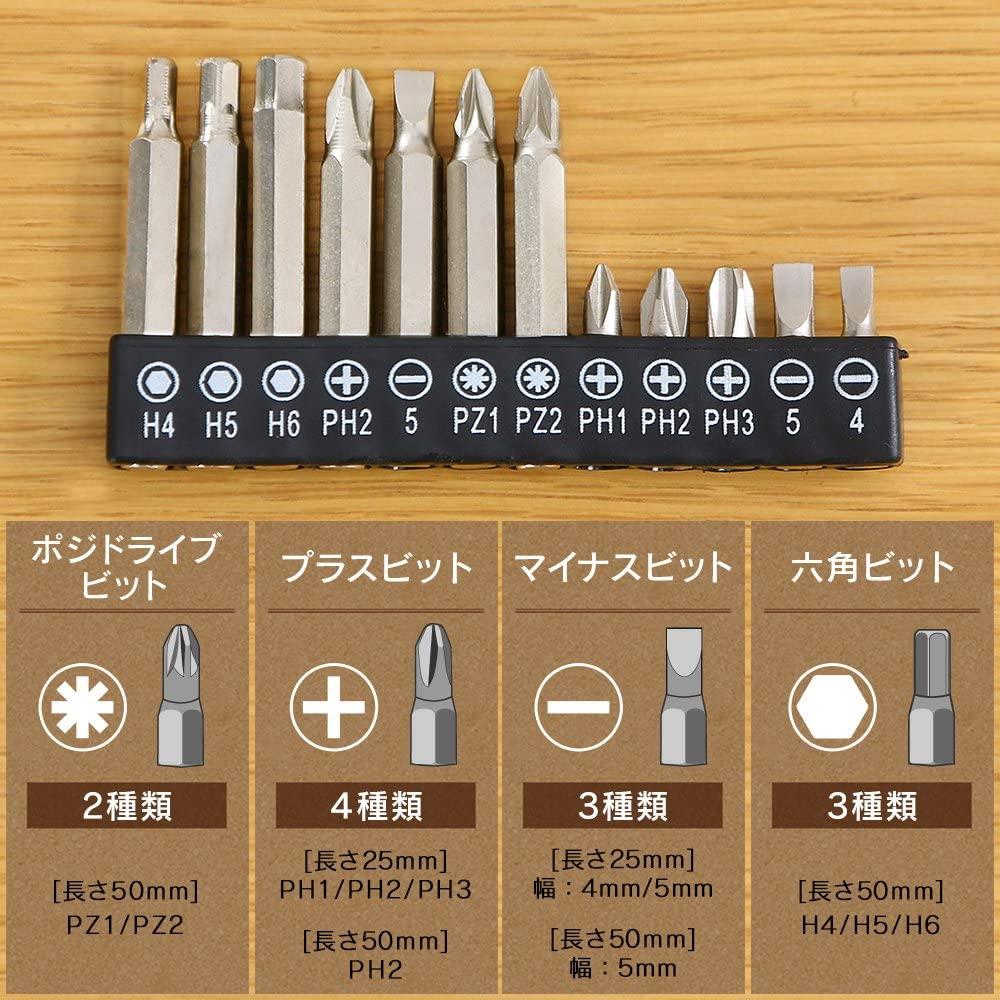 アイリスオーヤマ 電動ドライバー【JCD-421-D】-付属ビット