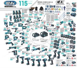 マキタ-108V-スライドバッテリシリーズ-115モデル